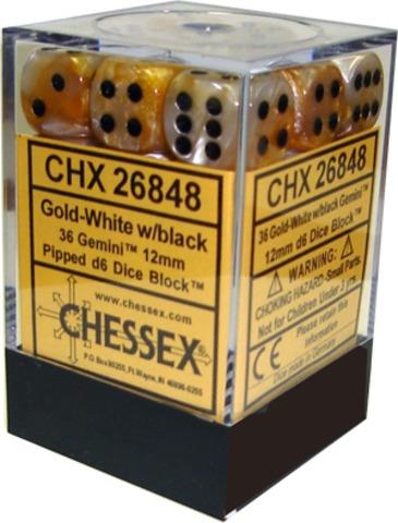 Chessex 36 ct Gemini Gold-White/Black Pipped 12mm d6 (26848)