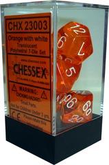 Chessex 7 ct Translucent Polyhedral Die Set Orange with White (23003)