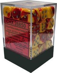 Chessex 36 ct Gemini Red-Yellow/Silver 12mm d6 (26850)