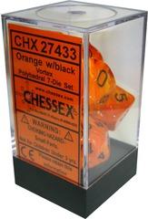 Chessex 7 ct Vortex Polyhedral Die Set Orange/Black (27433)