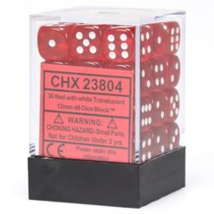 Chessex 36 ct D6 -- 12MM TRANSLUCENT DICE, RED/WHITE; (23804)