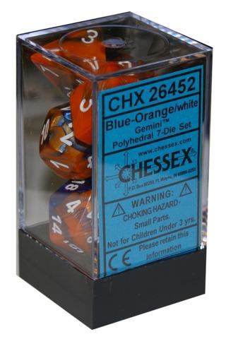 Chessex 7 ct Gemini Polyhedral Die Set Blue/Orange (26452)