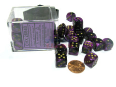 Chessex 36 ct D6 -- 12MM GEMINI DICE, BLACK-PURPLE/GOLD, (26840)