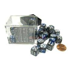 Chessex 36 ct D6 -- 12MM GEMINI DICE, BLUE-STEEL/WHITE; (26823)