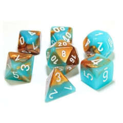 Chessex Lab Dice 7-Die Set: Gemini Copper-Turquoise/White with Luminary - CHX30019