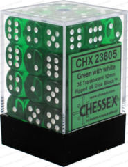 Chessex 36 ct D6 12MM TRANSLUCENT DICE, GREEN/WHITE (23805)