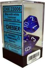 Translucent Polyhedral 7-Die Set Blue with White (23006)