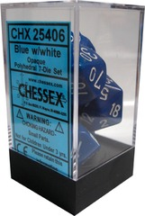 Chessex 7 ct Opaque Polyhedral Set Blue/White (25406)