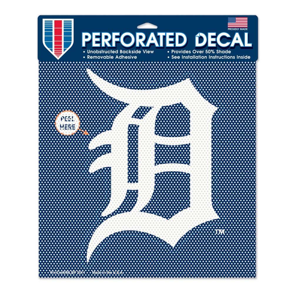 Detroit Tigers Perforated Vinyl Decal 12 x 12 Item #65967014