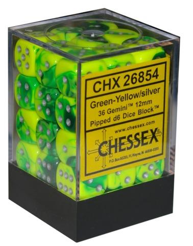 Chessex 36 ct Gemini Green/Yellow 12mm d6 (26854)