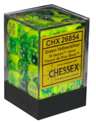 Chessex 36 ct Gemini Green/Yellow 12mm d6 (26854)
