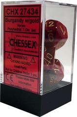 Chessex 7 ct Vortex Polyhedral Die Set Burgundy with Gold (27434)