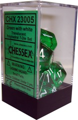 Chessex Translucent Polyhedral 7-Die Set Green with White (23005)
