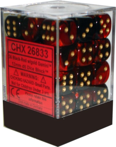 Chessex 36ct Gemini Black-Red w/Gold 12mm d6 (26833)
