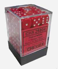 Chessex 36 ct 12mm D6 Opaque Red White (CHX25804)