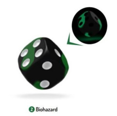 OAKIE DOAKIE DICE: D6 16MM GLOW IN THE DARK - BIOHAZARD (12CT)