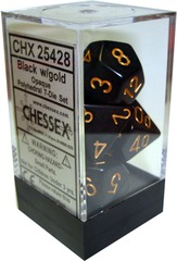 Chessex Opaque Polyhedral 7-Die Set Black/Gold (25428)