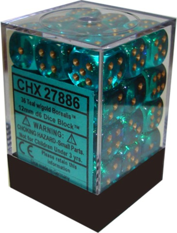 Chessex 36 ct Borealis Teal/Gold 12mm Pipped d6 (27886)