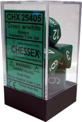 Chessex Opaque Polyhedral 7-Die Set Green/White (25405)