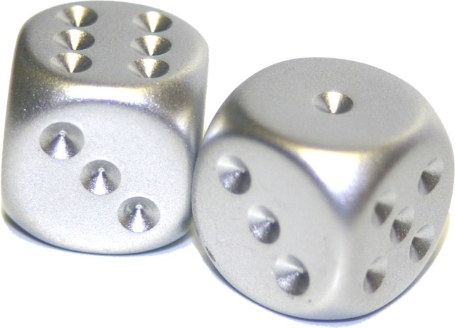 Chessex (2) ct Silver Plated 16mm d6 (29007)