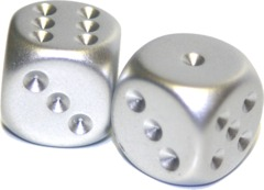 Chessex (2) Silver Plated 16mm d6 (29007)