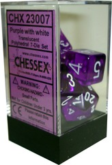 Chessex Translucent Polyhedral 7-Die Set Purple with White (23007)