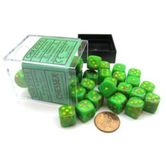 Chessex 36 ct D6 -- 12MM VORTEX DICE, SLIME/YELLOW, (27915)