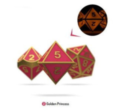 OAKIE DOAKIE DICE: POLYHEDRAL RPG SET METAL GLOW IN THE DARK - GOLDEN PRINCESS (7CT)
