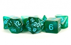 16mm Polyhedral Set - Stardust - Green with Blue