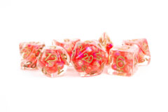 Pearl Dice Red w/ Copper Numbers 16mm Resin Poly Dice Set