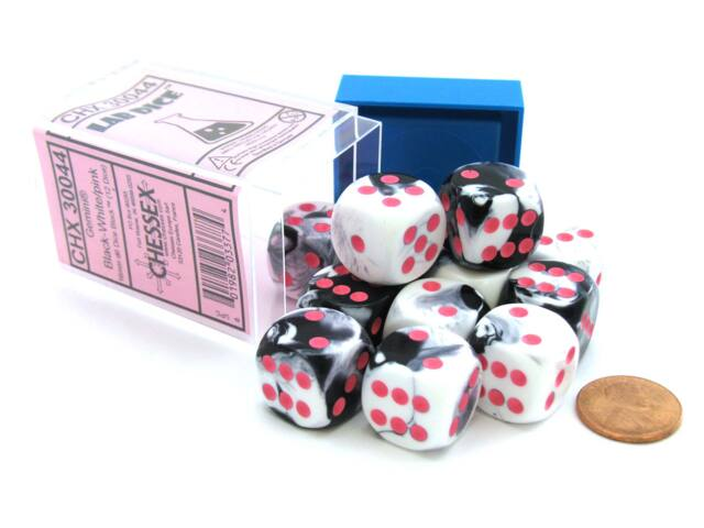 Limited Edition Gemini 16mm D6 Dice Block (12 Dice) - Black-White with Pink Pips