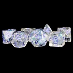 Pearl: Clear with Purple Numbers 7pcs Dice Set