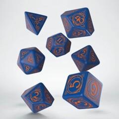 Wizard Dice Set: Dark Blue with Orange