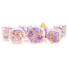 Pearl Purple Poly Set - Purple w/ Gold Numbers 7-die set