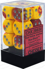 CHX 26650 - 12 Red-Yellow w/ Silver Gemini 16mm d6 Dice