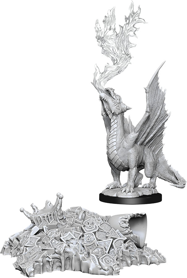 Dungeons & Dragons Nolzur`s Marvelous Unpainted Miniatures: Gold Dragon Wyrmling & Small Treasure Pile