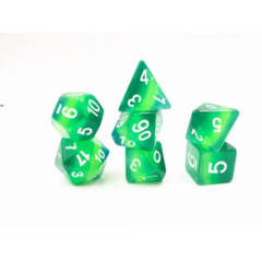 HDL-16 - 7 Green w/ White Layered Gradients Polyhedral Dice