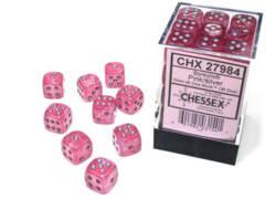 CHX 27984 - 36 Pink w/ Silver Borealis Glow-in-the-Dark Polyhedral Dice