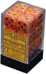 12 Fire Speckled 16mm d6 Dice - CHX 25703