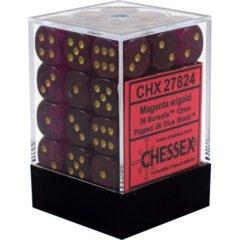 CHX 27824 - 36 Magenta w/ Gold Borealis 12mm D6 Dice