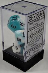 CHX 26444 - 7 Polyhedral Teal-White w/ Black Gemini Dice