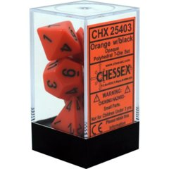 CHX 25403 - 7 Polyhedral Orange w/ Black Opaque Dice