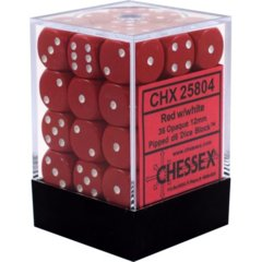 CHX 25804 - 36 Red w/ White Opaque 12mm d6 Dice