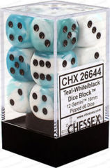 CHX 26644 - 12 Gemini Teal-White w/ Black 16mm d6 Dice