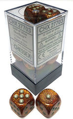 CHX 27703 - 12 Gold w/ Silver Glitter 16mm d6 Dice