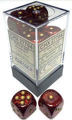 CHX 27704 - 12 Ruby w/ Gold Glitter 16mm d6 Dice