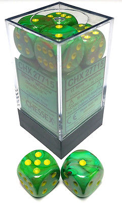 CHX 27715 - 12 Slime w/ Yellow Vortex 16mm d6 Dice
