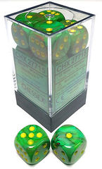 CHX 27715 - 12 Slime w/ Yellow Vortex 16mm d6 Dice