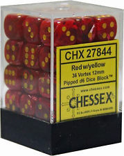 CHX 27844 - 36 Red w/ Yellow Vortex 12mm d6 Dice