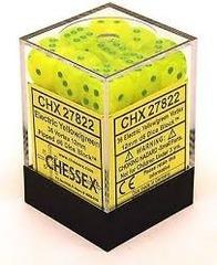 CHX 27822 - 36 Electric Yellow w/ Green Vortex 12mm d6 Dice